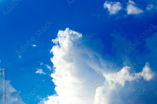 Foto auf Leinwand Dunkelblau Blue sky with Storm clouds over. Wallpapers, Blue sky Background.