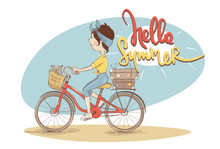 Hello Summer. Vector Illustration, Young Woman On A Bicycle.