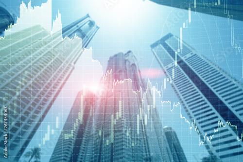 Fototapeta Universal finance abstract background Economic Trading growth graph chart on futuristic dubai city. Double exposure. obraz