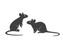 A Cute Illustration Of Two Mices. Continuous Line Art.
