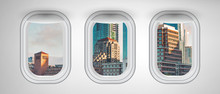 San Francisco Buildings As Seen From Three Airplane Windows. Holiday, Vacation And Travel Concept