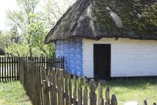 Niebieska Drewniana Chata Na Wsi