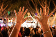 canvas print picture - Party outdoor - hands up celebrating fest concert event - focused image - Youth,fest,event,music, and entertainment concept - Image -