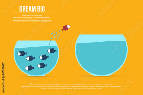 Obraz Dream big. Dare to be different.Think differently concept illustration, fish jumping outside the aquarium into biger one. New idea, change, trend, courage, creative solution, innovation and unique way - fototapety do salonu