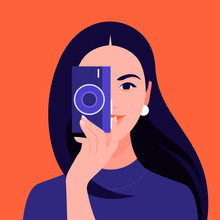 A Female Photographer Holds A Camera And Takes A Picture. Tourist And Blogger. Vector Flat Illustration