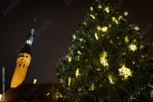 Christmas tree and lights at Tallinn market square
