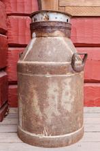 Old Rusty Milk Churn Outdoors