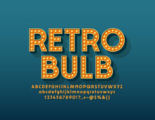 Vector Retro Light Bulb Alphab...