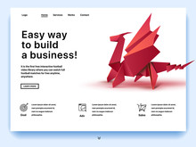 Website Providing The Service Of Easy Way To Build A Business. Concept Of A Landing Page For Building A Business. Vector Website Template With 3d Isometric Illustration Of A Origami Dragon