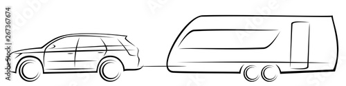 Leinwand Poster Vector illustration of a modern SUV car towing an aerodynamic trailer for campin
