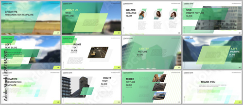 Fotografie, Obraz  Minimal presentations design, portfolio vector templates with colorful gradient geometric background