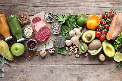Healthy food. Selection of vegetables, fruits, nuts and cereals for ketogenic diet, clean eating, plant based  and super food concept. - 267368203
