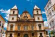 Leinwanddruck Bild Bright view of Pelourinho in Salvador, Brazil, dominated by the large colonial Cruzeiro de Sao Francisco Christian stone cross in the Pra a Anchieta