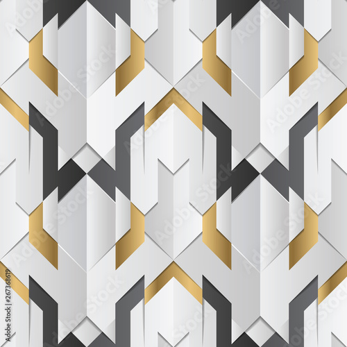 obraz dibond Geometric decor stripes white and golden element