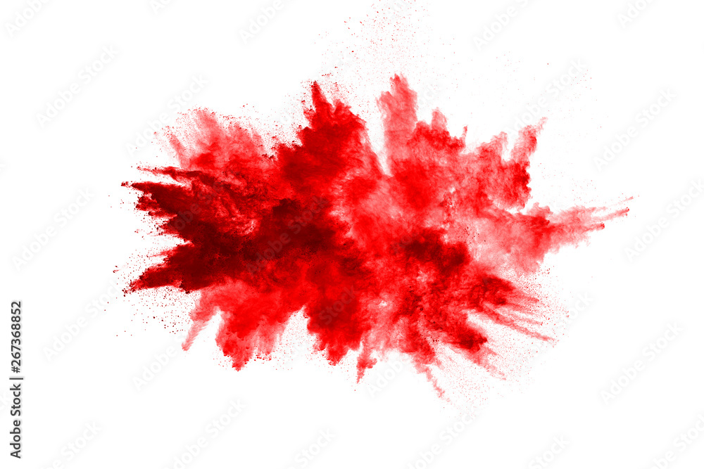 Fototapety, obrazy: Freeze motion of red powder exploding, isolated on white background. Abstract design of red dust cloud. Particles explosion screen saver, wallpaper