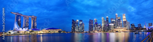 La pose en embrasure Singapoure Panorama Cityscape sunset of Singapore