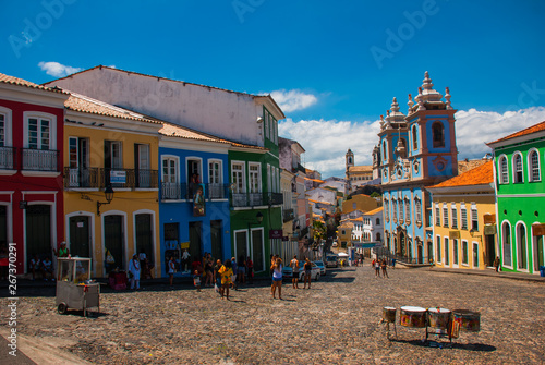 Aluminium Prints Brazil Historic city center of Pelourinho features brightly lit skyline of colonial architecture on a broad cobblestone hill in Salvador, Brazil