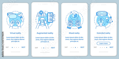 Valokuvatapetti Extended reality onboarding mobile app page screen with linear concept