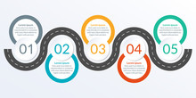 Timeline Ifographic Design With Winding Road Map. 5 Steps, Options Or Levels. Info Graphic For Business Process, Progress, Presentation, Workflow Layout, Banner, Web Design. Vector Illustration.