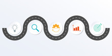 Timeline Infographic Design With Winding Road Map. 5 Steps, Options Or Levels. Info Graphic For Business Process, Progress, Presentation, Workflow Layout, Banner, Web Design. Vector Illustration.