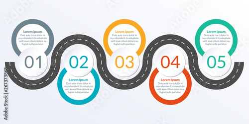 Timeline ifographic design with winding road map. 5 steps, options or levels. Info graphic for business process, progress, presentation, workflow layout, banner, web design. Vector illustration. - fototapety na wymiar