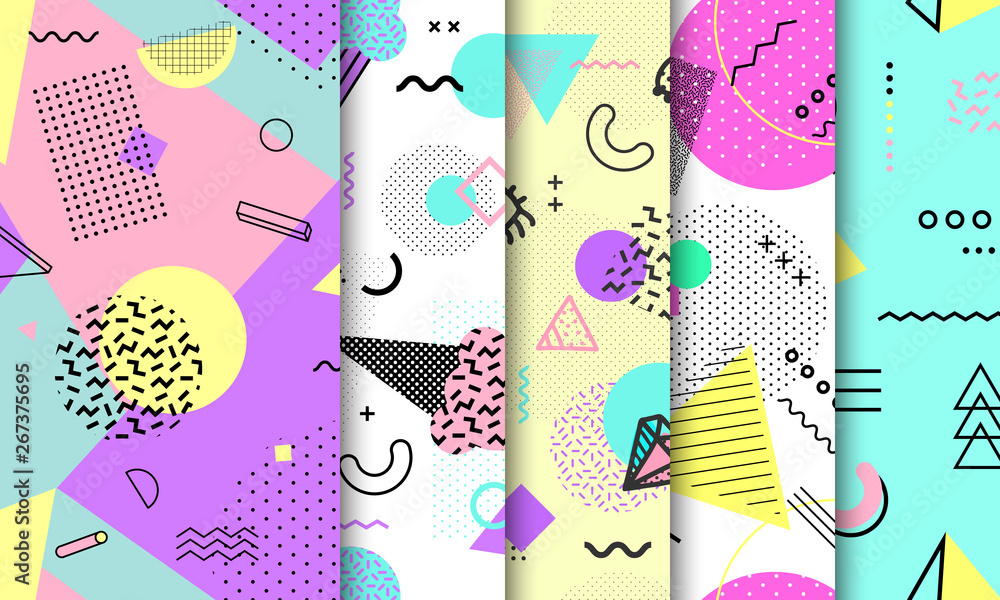 Fototapeta Memphis seamless pattern collection. Geometric seamless pattern different shapes fashion 80's-90's style. Set of pastel Memphis background. Abstract vector illustration in minimal design.