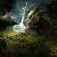 Dragon and magic sword