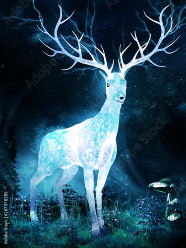 Deer on the magic meadow - 267378285
