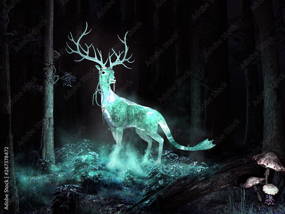 Fototapeta Magic deer in the forest