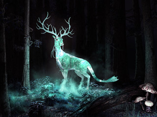 Magic deer in the forest