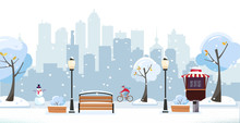 Winter Snowy Park. Public Park In The City With Street Cafe Against High-rise Buildings Silhouette. Landscape With Cyclist, Blooming Trees, Lanterns, Wood Benches. Flat Cartoon Illustration