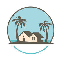 House Under Palm Trees Vector ...