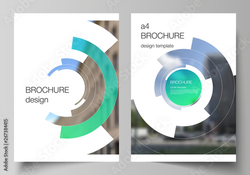 Echelle de hauteur The vector layout of A4 format modern cover mockups design templates for brochure, magazine, flyer, report. Futuristic design circular pattern, circle elements forming geometric frame for photo.