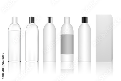 Cosmetic plastic bottle with box isolated on white background Fototapet