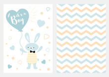 Its A Boy Set Of Blue White Yellow Templates For Invitations Rabbit Balloon Zigzag Background Vector