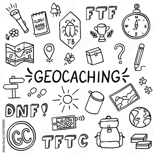 Geocaching doodle drawing equipment set concept vector #267388094