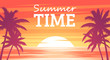 Summer tropical background. Palms silhouettes on the beach. Sunset or sunrise colors. Beautiful orange sky and nature landscape. Simple modern design. Flat style vector illustration.