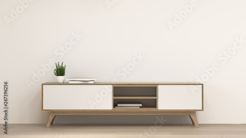 clean modern Tv wood cabinet in empty room interior background 3d rendering home designs,background shelves and books on the desk in front of wall empty wall