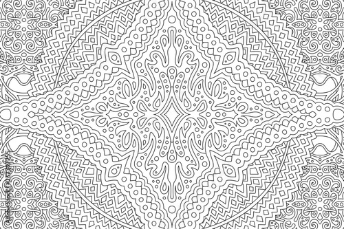 Coloring book page with detailed abstract pattern