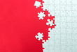 canvas print picture - Red background made from white jigsaw puzzle pieces and place for your content