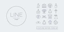 16 Line Vector Icons Set Such As Islam, Jainism, Jesus, Jewish, Jihad Contains Judaism, Koran, Lamb, Last Supper. Islam, Jainism, Jesus From Religion Outline Icons. Thin, Stroke Elements