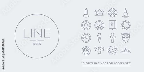 16 line vector icons set such as abrahamic, agnosticism