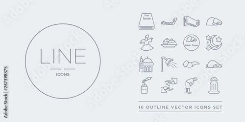 Photo  16 line vector icons set such as religious salt, ruku posture, sadaqah, sadaqah charity, salah contains shofar, shower head and water, small mosque, star and crescent moon