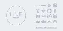 16 Line Vector Icons Set Such As Navy Hat, Oars, Ocean Waves, Oil Tanker Ship, Old Galleon Contains Oxygen Tank, Paddles, Pirate Ship, Port And Starboard. Navy Hat, Oars, Ocean Waves From Nautical