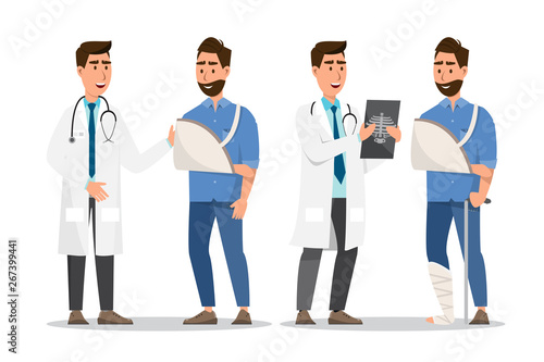 Carta da parati Set of sick people cartoon style