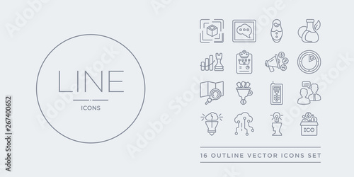 16 line vector icons set such as initial coin offering, inspiration