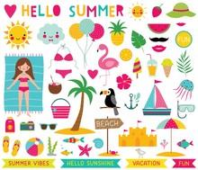 Summer Time Design Elements Set