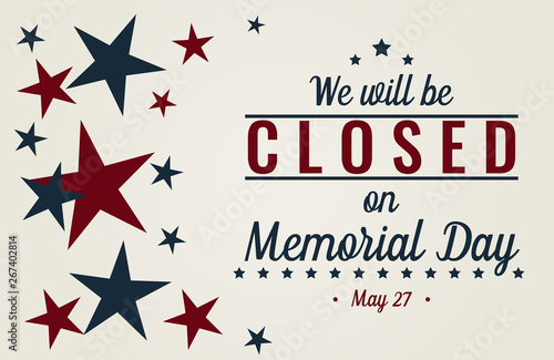 Fotografía  Memorial day, we will be closed card or background