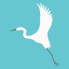 Heron Flying, Vector Illustration,flat Style,profile