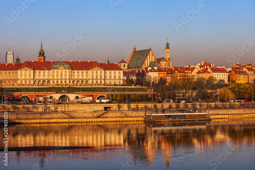 obraz lub plakat Warsaw City Skyline at Sunrise in Poland